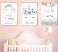 Unicorn Personalised Name Nursery Prints Set Baby Girl Bedoom Art 3 Pictures