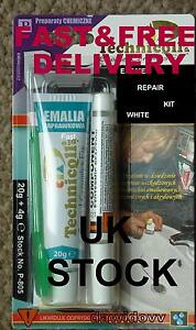 IT'S NOT PAINT! Bath Sink Shower Tray Repair Kit, WHITE Ceramic EnamelAcrylic v
