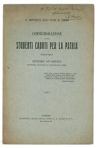 STAMPINI COMMEMORAZIONE STUDENTI CADUTI UNIVERSITA TORINO PARAVIA 1917 AUTOGRAFO