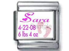 BABY GIRL NAME BIRTHDATE CUSTOM PERSONALIZE 9MM ITALIAN CHARM BIRTH NEWBORN date