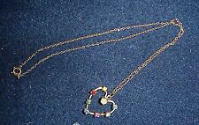 GOLD TONE, VERY DAINTY CHAIN WITH HEART DROP.7 DIFFERENT COLORED R/S WITH PEARL