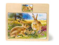 """Puzzle per bambini """"Famiglia di lepri e leprotti"""", 12 pezzi, cornice in legno"""
