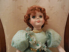 """Cute Porcelain and Cloth Doll - 13"""" H 7366H on back of neck"""