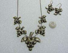& Pierced Earring Set N247-K Mexican Sterling Silver Grape Design Necklace