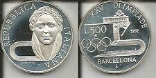"""REPUBBLICA ITALIANA """"XV OLIMPIADE DI BARCELLONA 1992"""" 500 LIRE 1992 PROOF"""