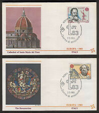 "2 ITALY EUROPA 1983 ""GREAT CATHEDRALS"" FLEETWOOD FDC's ROMA FILATELICO 2/5/1983"