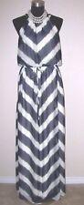 Vince Camuto Dress Sz 10 Black Green & Off White Maxi Drawstring M  NEW $168