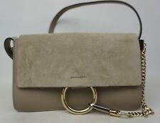 Chloe Small Faye Suede & Leather Motty Grey Gray Crossbody Bag Purse