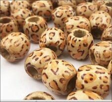 Wood Barrel Leopard Pattern Large Hole Beads