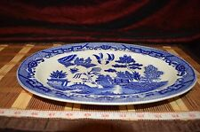 "Vintage Asian Porcelain Blue Willow Serving Platter Plate Tray Japan  12 3/4""x9"""