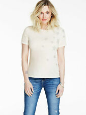 FEARNE COTTON LADIES OFF-WHITE EMBELLISHED STAR T-SHIRT TOP SIZE UK 10 BRAND NEW