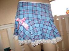 New Blue Pink White Tartan check Jersey lace Skater Skirt Club wear Rock Party
