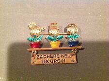 "Pin Brooch, Dancraft, TEACHERS-HELP-US-GROW Gold-tone Enamel Flowers, 2-1/4"""