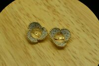 14K YELLOW & WHITE GOLD DIAMOND FLOWER CUP DESIGN POST EARRING ENHANCERS JACKETS