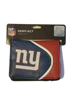 NWT NFL New York Giants Ladies Synthetic Leather Zip and Button Bi-fold Wallet