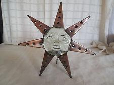 Glass face tin star candle tea light holder