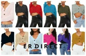 Ladies Womens Chunky Cable Knitted Cardigan 3 Button Long Sleeves Short Crop Top