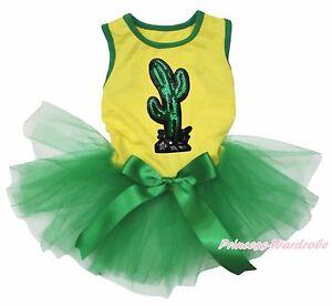 Bling Cactus Cinco de Mayo Yellow Top Green Gauze Skirt Pet Dog Puppy Cat Dress
