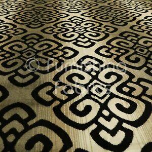 Black Gold Medallion Pattern Woven Velvet Quality Heavy Weight Upholstery Fabric
