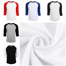 Men's Women 3/4 Sleeve Plain T-Shirt Lot Baseball Running Tee Sports Top Blouse