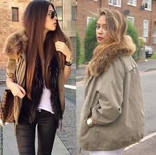 Zara Khaki Parka Anorak Jacket Coat With Fur Collar Size M