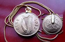 "1982 IRELAND Gaelic Lucky Harp Coin Pendant on 24"" Gold Filled Snake Chain"