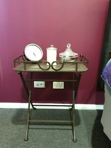 GUC 2x Matching Bedside Side Tables - Burnished Bronze Metal w/ Scroll Detail