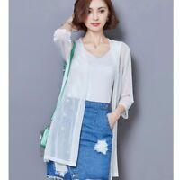 Lady Sunscreen Long Coat Kimono Waterfall Mesh See Through Summer Outerwear Tops