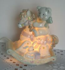 Vintage Nursery Night Light Teddy Bear on Rocking Horse Table Top