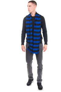 RRP €125 DEPARTMENT 5 Long Stole Scarf Two Tone Striped Pattern Made in Italy