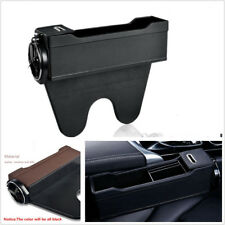 Black PU Leather Driver Side Seat Console Organizer Caddy Slit Gap Filler Pocket