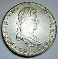 1815 AU-BU Detail Spanish Mexico Silver 8 Reales Antique Colonial Dollar Coin