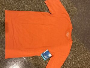 NEW Coolibar Men  Saftey Orange Short Sleeve Cotton Shirt UPF 50+ S