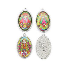 10Pcs Religious Enamel Medals Charms Pendants Painting Cute Doll 40mm