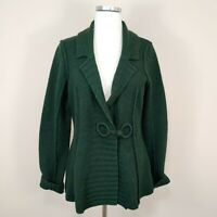 Anthropologie Charlie & Robin 100% Wool Cardigan Sweater Dark Green L Large
