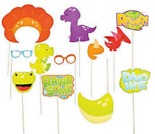 Pack of 12 - Little Dino Photo Stick Props Birthday Photo Booth Party Decor