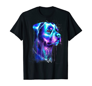 Bright Rottweiler Dog Watercolor Painting T-Shirt S-5XL