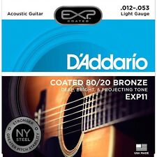 D'Addario EXP11 Acoustic Guitar Light Coated 80/20 Bronze Strings 12-53 1-Set