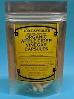 ORGANIC*AppleCiderVinegar 100 Capsules1300mg*W*MOTHER*WEIGHT*LOSS*LOSE*FAT*DETOX