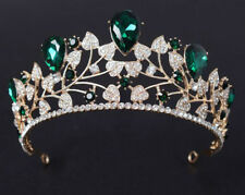 8.80ctw Natural Diamond Emerald 14K Yellow Gold Wedding Anniversary Tiara Crown
