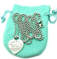 "** Please Return To TIFFANY & Co. Sterling Large Heart 34"" Ball Chain Necklace."