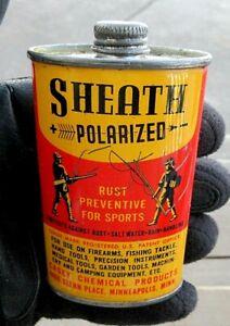 VINTAGE SHEATH POLARIZED 3 OUNCE GUN OIL CAN FISHING REEL OIL CAN  EMPTY