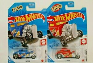 2021-Hot Wheels-2 Mattel Games-#1/5 Uno And Dos '32 Ford-1:64-Boys-3+