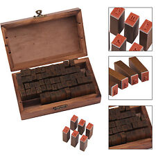 70PCS RETRO WOODEN RUBBER UPPER LOWER CASE ALPHABET LETTERS NUMBERS STAMPS SET