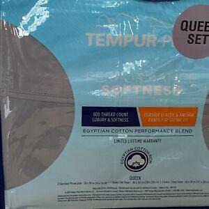 Tempur-Pedic QUEEN Sheet Set Gray Egyptian Cotton Blend 800 TC 4pc New