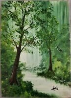 Vintage Signed Oil Painting on Wood Landscape Florida Artist Hollingsworth