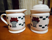 GEI Stoneware Cream & Sugar Set/ Apple Basket Motif/Vintage 80s-90s Collectible