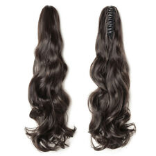 Dark Brown Wavy Claw Ponytail Clip in Hair Extensions Real Natural Long Hair ICC