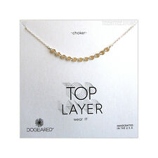 """Dogeared Sterling Silver Centered Multi-Disk Top Layer Choker Necklace 12.5""""+ 2"""""""