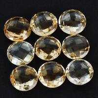 VVS 9 Pcs Natural Citrine AAA Quality Round Checker Cut Unheated Gems 14mm